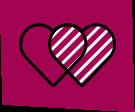 icone pourpre avec deux coeurs