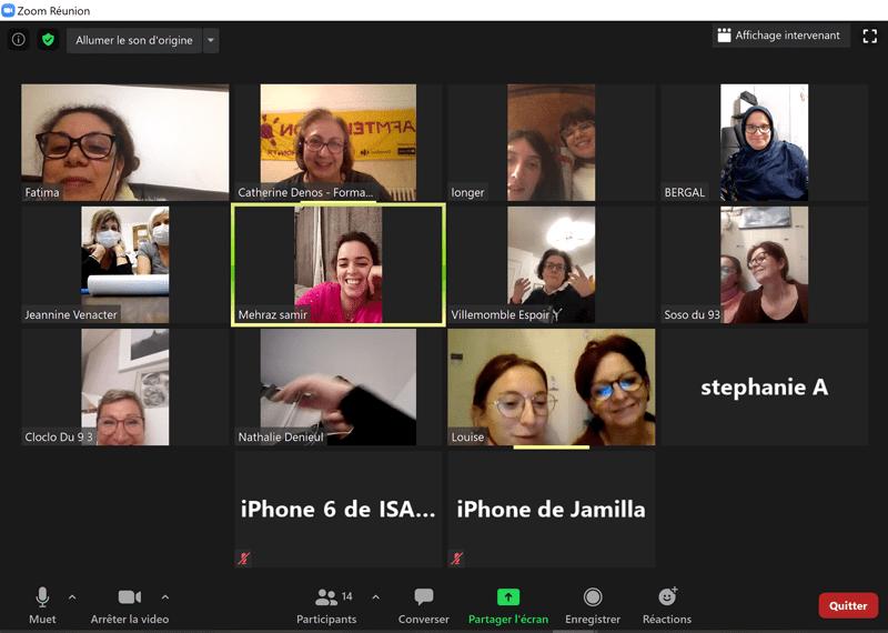 Capture d'écran d'une réunion zoom des bénévoles